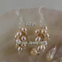 Women's Sterling Silver natural pearl  Beautiful pink color pearl earring women's jewelry 925 sterling silver hook dangle earring A896