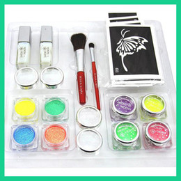 Wholesale Temporary Tattoo kit UV glitter kit color UV Powder with stencils Body Art