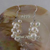 White White Women's Beautiful white color pearl earring women's jewelry 925 sterling silver hook dangle earring A899