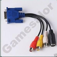 Wholesale VGA switch tv S terminal line Audio Video Converter VGA15 pin male Separation of the four ports