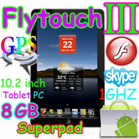 Wholesale 4pcs Flytouch3 GB quot tablet pc Epad Android market skype GPS WIFI Camera X220 G SuperPad
