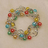 Women's beaded jewery - beautiful AA MM mother of pearl mixes color Elastic bracelet inch fashion woman s jewery A1450