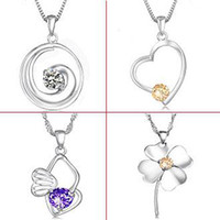 Wholesale FASHION JEWELRY Mix order STERLING SILVER GP WHITE GOLD NECKLACE crystal pendant