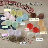 Wholesale Contact Lens Case Colors Dual Box Double Case Lens Soaking Case HM01