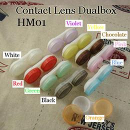 Wholesale Single PP Bag Packaging Contact Lens Case Dual Box Double Case Lens Soaking Case HM01