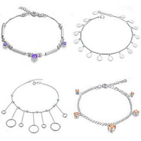 Wholesale MIX ORDER FASHION JEWELRY STERLING SILVER ANKLET chain link naklets charm EMS DHL