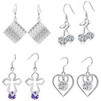 Wholesale FASHION JEWELRY Mix order STERLING SILVER EARRING crystal pendant earrings hoop clip Free Ship