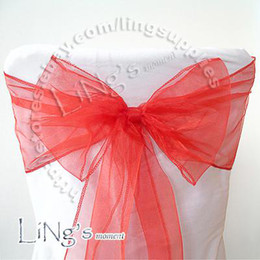Tracking number--50pcs RED Wedding Party Banquet Chair Organza Sash Bow