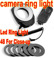 Wholesale 48 Rechargeable LED Camera Video Macro Ring Light photoflash lamp photoflash light