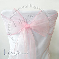 Wholesale Lowest price Pink Wedding Party Banquet Chair Organza Sash Bow