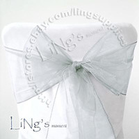 Wholesale Lowest price Silver Wedding Party Banquet Chair Organza Sash Bow