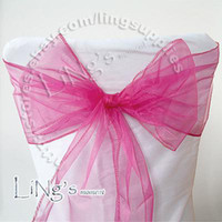 Wholesale Fuchsia Wedding Party Banquet Chair Organza Sash Bow