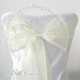 Free shipping--50PCS IVORY Wedding Party Banquet Chair Organza Sash Bow