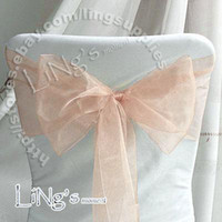 Wholesale Lowest price Peach Wedding Party Banquet Chair Organza Sash Bow