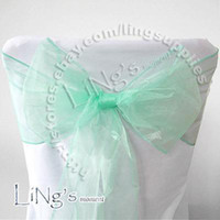 Wholesale Hot item Robins egg Blue Wedding Party Banquet Chair Organza Sash Bow