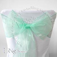 Wholesale Hot item Robins egg Blue Wedding Party Banquet Chair Organza Sash Bow