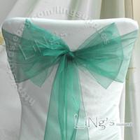 al por mayor organza fajas arco silla-El artículo caliente - la silla del banquete del banquete de boda azul del trullo 50PCS Organza Arco