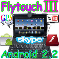 Wholesale Flytouch3 quot Android market skype tablet pc GPS Camera X220 HDMI with leather keyboard case