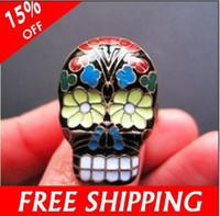 beijing rings - Colorful Day Of The Dead Skull Skeleton Enamel Rings Beijing Opera Facial Masks