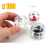 Wholesale 100PCS High quality Acrylic Crystal clear ring box Jewelry Box Case Gift boxes Free EMS