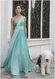 Wholesale One shoulder Crystal Pleated Chiffon Empire Bridesmaid Homecoming Party Evening Prom Dresses Gowns