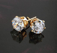 Wholesale 18KGP YELLOW GOLD CT PRINCESS CUT GEMSTONE LADIES STUD EARRINGS COME WITH A GIFT BOX