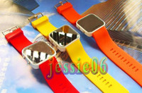 Wholesale LED Mirror Fashion Watches Silicone Watch Soft Band Plastic Colors Face Watch LEDWatch R