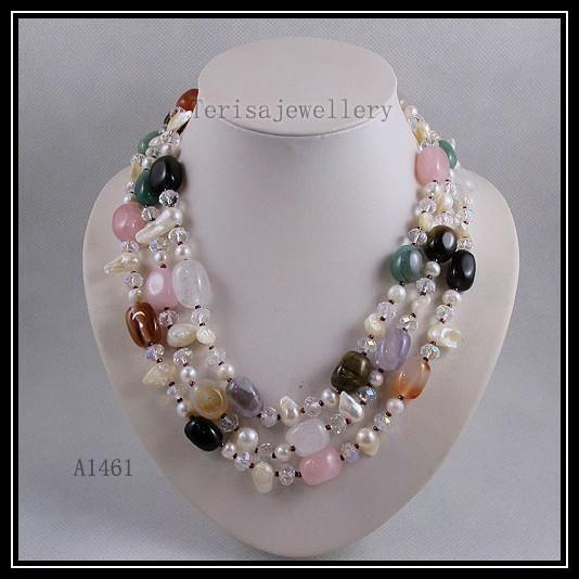 Beautiful necklace pearl crystal rose quartz jade agate mixes color