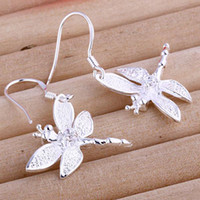 Wholesale 2011 new fashion silver charm Dragonfly crystal earring jewelry Special Christmas gifts