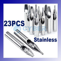 Needle Grip Tube Inks Cup Silver Stainless steel Tattoo Nozzle Tips Stainless Steel 23 PCS 23 Kinds Supply For Needle Grip Tube Inks Cup Silver