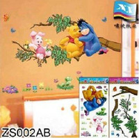 Wholesale 100pcs Hot Sell Cartoon colorful home stickers Winnie the Pooh wall stickers colorful paper sticker