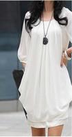 Wholesale PROMOTION hot sell Women chiffon dresses White Short Sleeves fashion dress