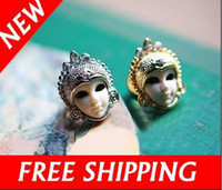 Men's baby doll asian - Cute Gold and Silver Tone Crystal Egypt Baby Doll Ring Porcelain Face Mask Rings