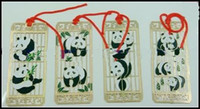 Wholesale Cloisonne Panda Gift Bookmarks Chinese style Crafts Handmade Metal Copper Fashion Bookmark sets pack