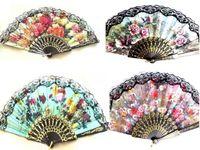 lace hand fan - 100pcs Spanish Hand Fans Black Frame or white Frame Fan Lace Fancy Dress Wedding