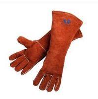 Wholesale Welding gloves Long welding gloves welding gloves brown