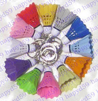 Wholesale free ship PVC badminton keychain key chain keychains color for choosing