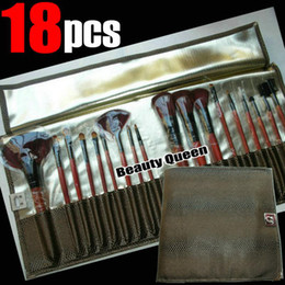 Wholesale - 18 pcs PRO MAKEUP COSMETIC BRUSHES SET PONY GOAT HAIR Brown Bag Leather Pouch FREE SHIP
