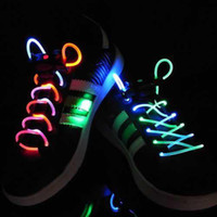 Wholesale 1st th Gen Colorful Neon LED Flashing Shoelaces Disco Party Light up Laser Shining Shoe laces with Retail Packing