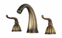 Widespread Chrome Ceramic bathroom Basin faucets Brass Antique mixer tap Bronze finish NY03012