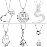 Wholesale JEWELRY MIXED ORDER NECKLACE PENDANTS STERLING SILVER crystal diamond pendant HOT