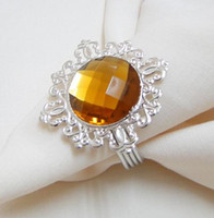 Wholesale Lowest price high quality Brown Gem Napkin Ring Wedding Bridal Shower Favor