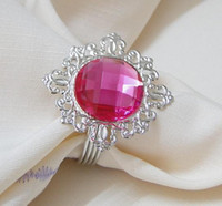 Wholesale Lowest price high quality Fuchsia Gem Napkin Ring Wedding Bridal Shower Favor