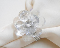 Wholesale high quality Acrylic Flower Gem Napkin Ring Wedding Bridal Shower Favor
