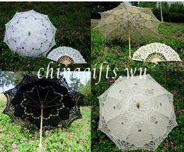 Promotion! 4sets lot, Lace Parasol Umbrella Wedding Bridal & Fan Party, Black White Ivory