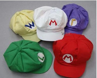 Super Mario Bros Anime Cosplay Hat red white Mario green Lui...