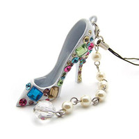 Wholesale Crystal High heel Shoe Keychain w Pearl Strand Pendant
