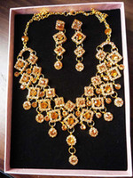 Wholesale C006 Brown Charming fashion mosaic zircon Luxury alloy jewelry set