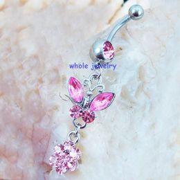 Wholesale JFC body jewelry Belly Button Navel Rings Body Piercing Jewelry Dangle Fashion Charm CZ Stone