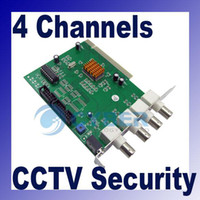 Wholesale 4 CH DVR Card Channels CCTV System Security Equipment PCI Video Capture Frames High Speed Green